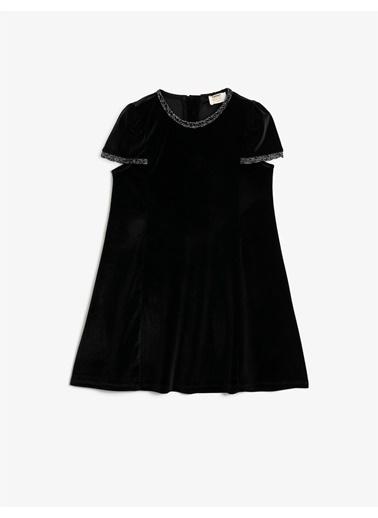 Koton Kadife Kisa Kollu Simli Elbise Siyah